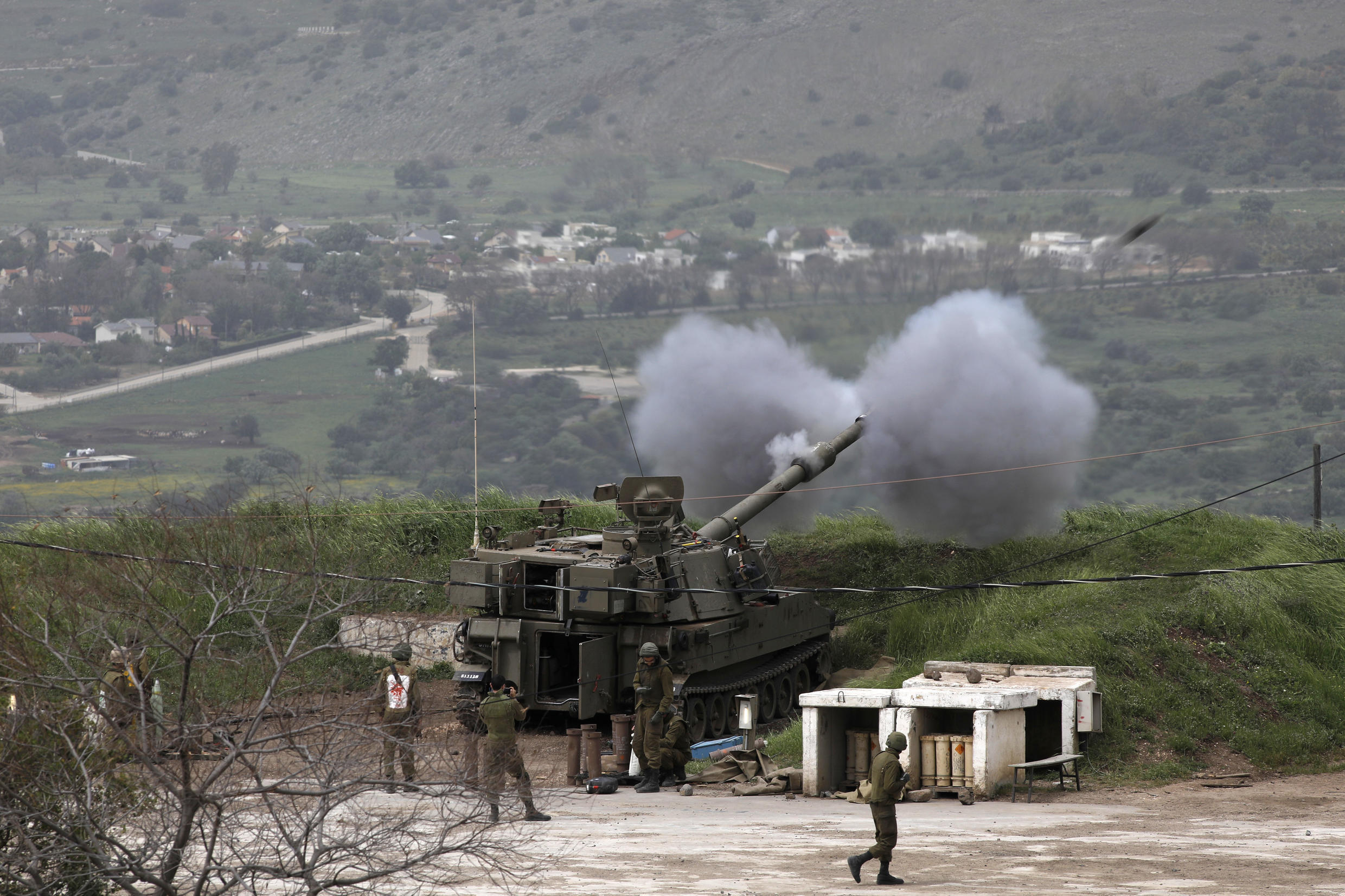 Israeli soldiers take part in a mobile artillery exercise near the border with Syria in the Israeli-occupied Golan Heights on April 5, 2020