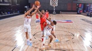 Les Toronto Raptors ont affronté les Phoenix Suns le 28 juillet 2020 à Orlando en Floride.