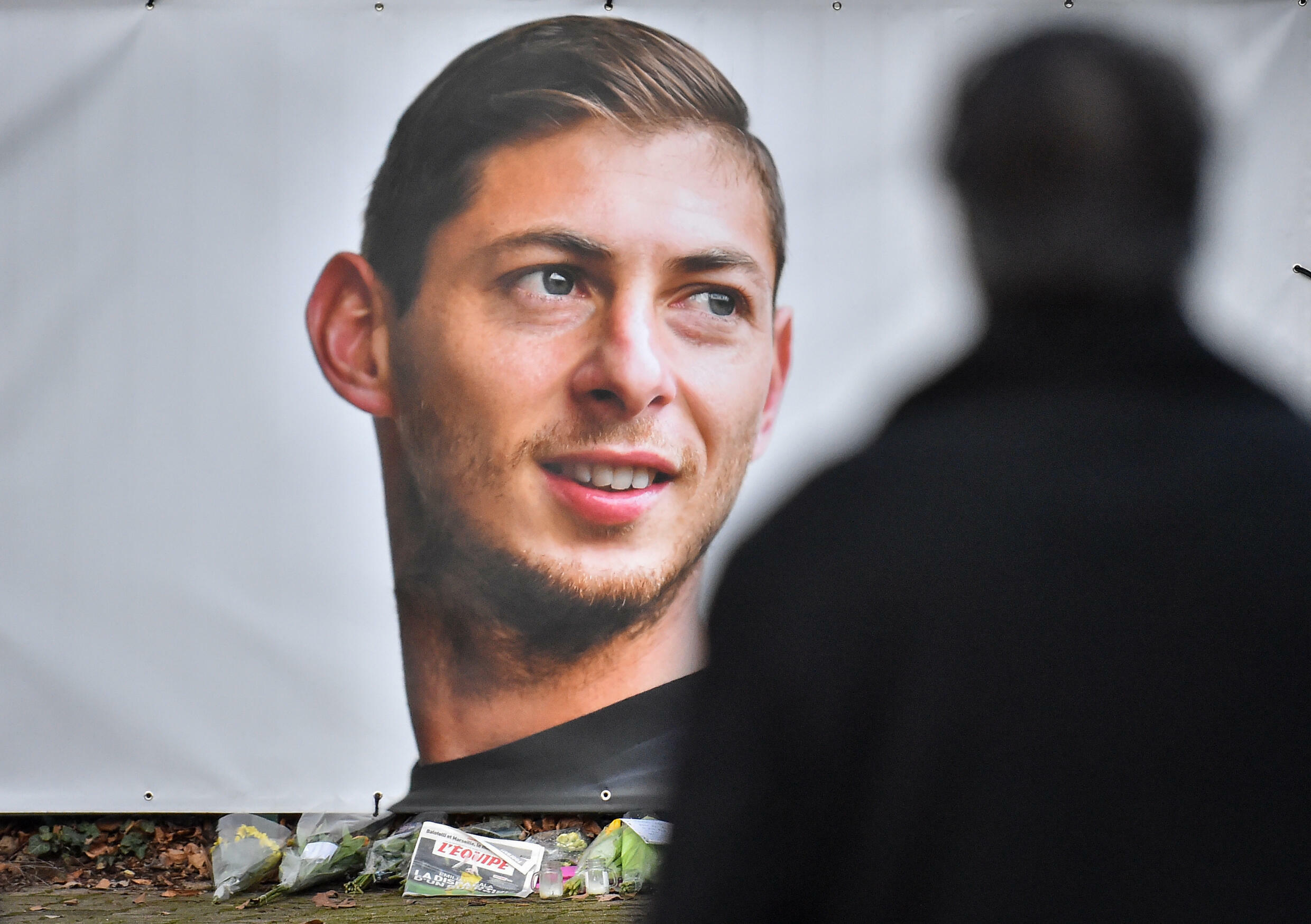 A portrait of Emiliano Sala displayed in front of the entrance of the FC Nantes football club training centre in 2019 after he died in a plane crash