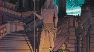 Détail de la couverture du nouvel album de Blake et Mortimer, «Le dernier Pharaon» de François Schuiten, Jaco Van Dormael, Thomas Gunzig et Laurent Durieux.