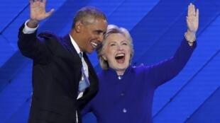 O apoio do President Barack Obama a Hillary Clinton, nacional dos democratas, Filadélfia, 27 de julho de 2016
