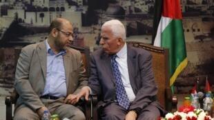哈馬斯官員穆薩·阿布·馬爾祖克和法塔赫代表哈邁德在加沙 2014 4 22