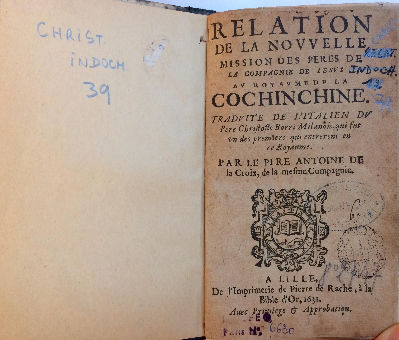 Bìa cuốn sách Mối quan hệ của phái đoàn các Cha dòng Tên với Vương quốc Nam Kỳ, xuất bản năm 1631, EFEO, Paris.