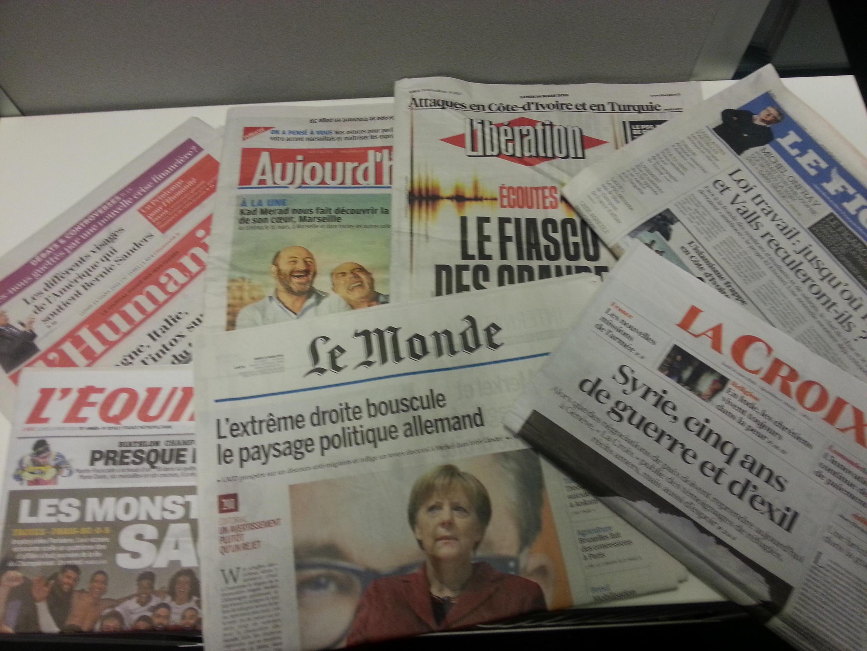 Primeiras páginas dos jornais franceses de 14 de março de 2016