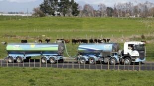 Un camion-citerne transportant du lait à son arrivée à l'usine Fonterra à Te Rapa, près de Hamilton en Nouvelle-Zélance, le 26 mars 2014.