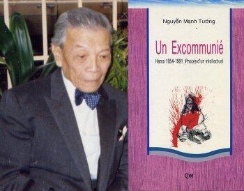 """Luật sư Nguyễn Mạnh Tường và bìa quyển """"Un excommunié (Kẻ bị khai trừ)"""" xuất bản tại Paris năm 1992."""