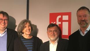 De gauche à droite : Éric Chol, Anna-Maria Merlo Poli, Matei Visniec, Alex Taylor.