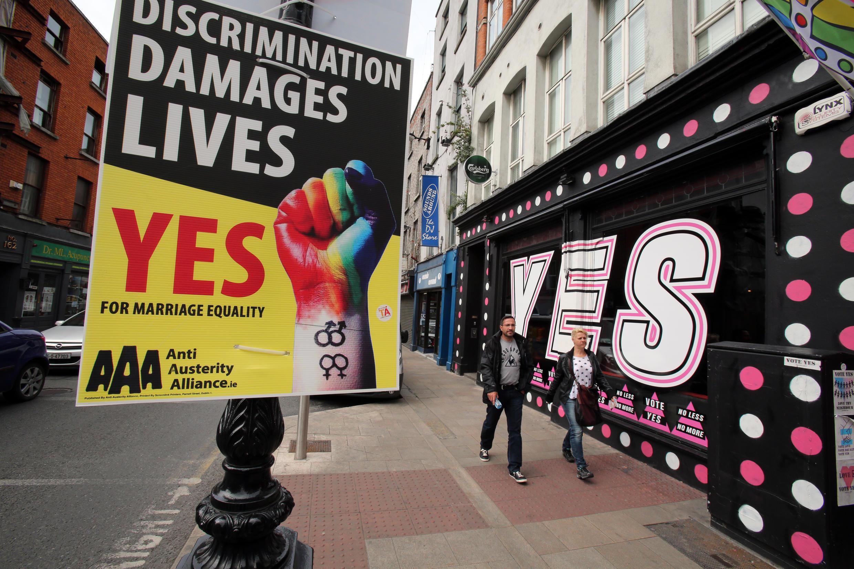 Bích chương ủng hộ hôn nhân đồng tính tại Dublin, ngày 21/05/2015.