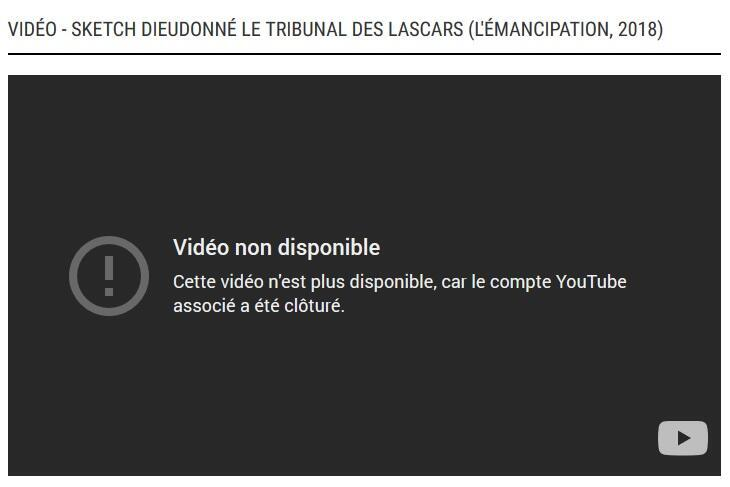 The Youtube video of Dieudonné came to a halt.