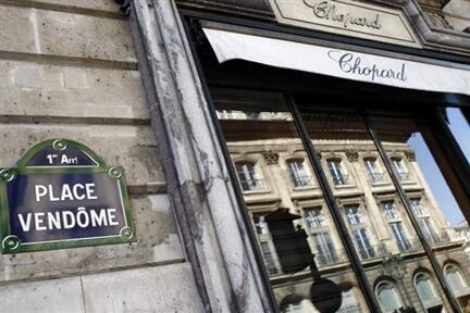 Un hold-up a eu lieu à la boutique du grand joaillier Chopard, place Vendôme à Paris, le 30mai 2009.