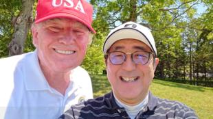 美國總統特朗普與日本首相安倍晉三資料圖片