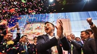 Volodymyr Zelensky on hearing the news of his successful presidential bid on 21 April 2019.