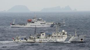 Không ảnh cho thấy các tàu hải giám Trung Quốc số 49 và 50 đang tiến gần Senkaku ngày 23/04/2013