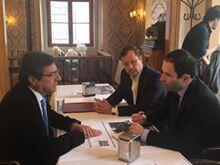 Encontro do socialista francês Benoît Hamon com o Dr. João Goulão, em Lisboa, em presença do Vereador da Câmara de Paris, Hermano Sanches Ruivo
