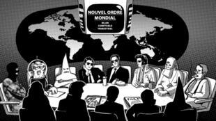 Ilustración de líderes de una supuesta conspiración mundial.