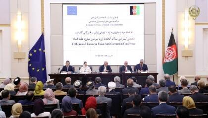 """پنجمین کنفرانس سالانه اتحادیه اروپا پیرامون مبارزه علیه فساد، تحت عنوان """"حرکت به سوی صلح، فرصت برای حسابدهی""""، در روز چهارشنبه ۱۹ سرطان/ ١٠ ژوئیه ٢٠۱٩ با شرکت محمد اشرف غنی، رییس جمهوری اسلامی افغانستان در کابل برگزار شد."""