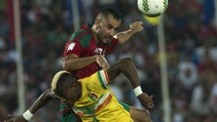 Khalid Boutaïb lors d'une rencontre face au Mali pour les éliminatoire du Mondial 2018.