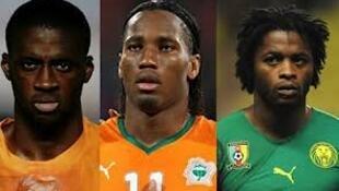 wachezaji wanaowania uzo ya mchezaji bora Afrika, (Yaya Toure, Didier Drogba na Alexandre Song)