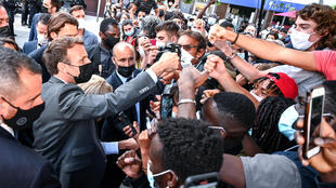 French President Emmanuel Macron was back greeting well-wishers just hours after the slap