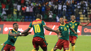 Cameroon celebrate as they book a place in one of the CAN 2017 semi finals.