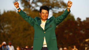 Hideki Matsuyama - in the victor's green jacket - became the first man from Japan to win one of golf's major titles when he won the Masters in Augusta.