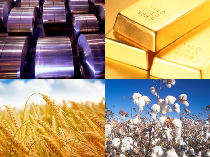 Matières premières: aluminium, or, blé, coton...