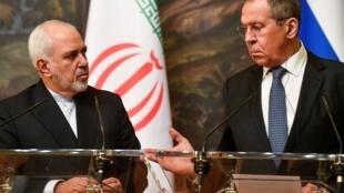 Ngoại trưởng Nga, Sergei Lavrov và đồng nhiệm Iran, Mohammad Javad Zarif trong buổi họp báo chung tại Matxcơva, ngày 08/05/2019.