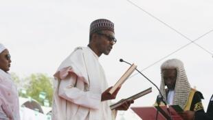 Muhammadu Buhari lors de sa prestation de serment, le 29 mai 2015 à Abuja.