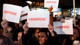 Manifestation à Podgorica, pour demander la démission du président du Monténégro, Milo Djukanovic, le 16 février 2019.