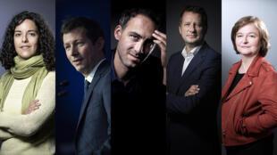 Manon Aubry (FI), François-Xavier Bellamy (LR), Raphaël Glucksmann (Place Publique - PS), Yannick Jadot (EELV) et Nathalie Loiseau (LREM).
