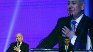 El primer ministro israelí Benjamin Netanyahu celebra su victoria en la sede del Likud.