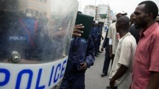 Lokacin wata arangama da jami'an tsaro a  Kinshasa.