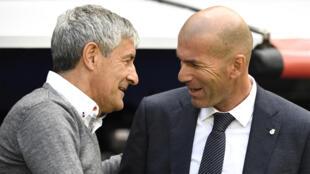Quique Setien et Zinedine Zidane, en mai 2019.