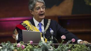 Le nouveau président équatorien Guillermo Lasso a prononcé un discours lors de son investiture à l'Assemblée nationale à Quito.
