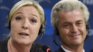 Los ultraderechistas Marine Le Pen y Geert Wilders, en una foto en Bruselas de 2014.