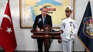Tổng thống Thổ Nhĩ Kỳ Tayyip Erdogan trong một buổi lễ tại Học viện Hải Quân, Istanbul, ngày 31/08/2020.