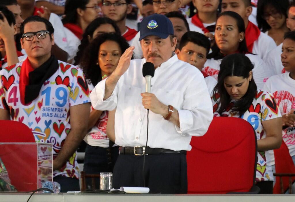 Le président du Nicaragua Daniel Ortega à Managua, le 19 juillet 2019.