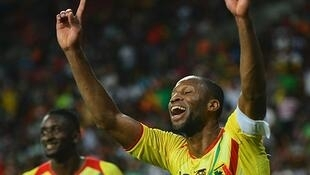 Saydou Keita mshambuliaji wa Mali akishangilia goli alilofunga dhidi ya Niger