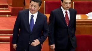 2015年3月3日,中國國家主席習近平和國務院總理李克強在政協開幕式上。