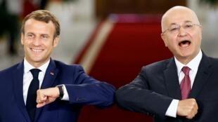 Shugaban Faransa Emmanuel Macron yayin gaisawa da takwaransa na Iraqi Barham Saleh