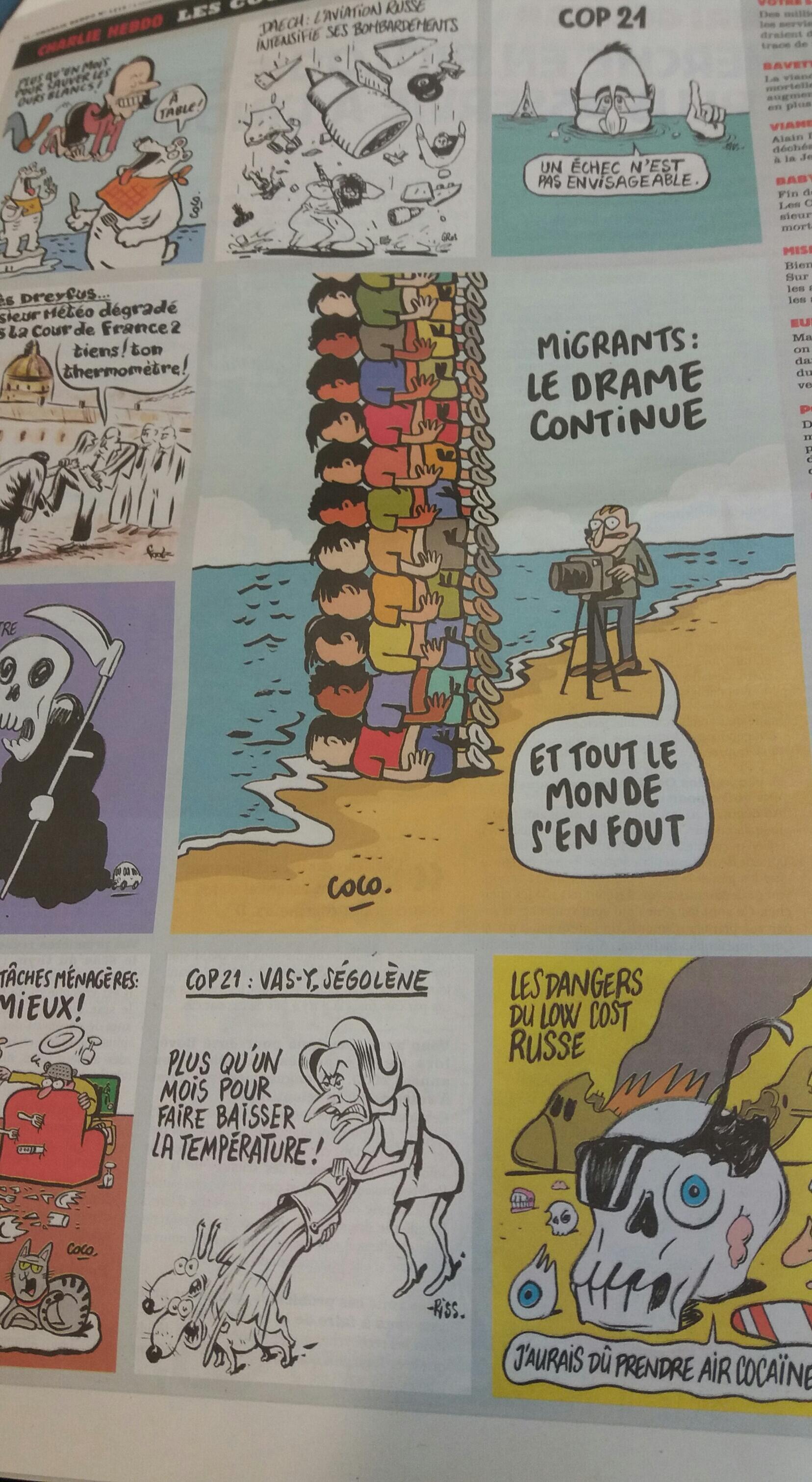 Последняя полоса Charlie Hebdo от 4 ноября 2015 года, где опубликованы две карикатуры на разбившийся А321