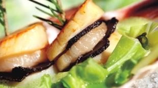Sò điệp áp chảo kẹp nấm truffe có thể ăn kèm với măng tây non (DR)
