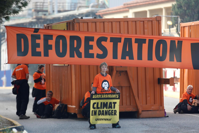Des militants de Greenpeace bloquent l'entrée d'une raffinerie de Total, près de Fos-sur-Mer, en France, le 29 octobre 2019 pour dénoncer la déforestation et la responsabilité du gouvernement français.