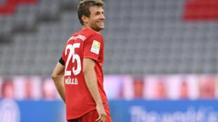 L'attaquant du Bayern Munich Thomas Müller, le 23 mai 2020 lors de la victoire contre l'Eintracht Francfort