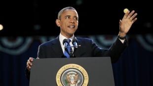 O presidente Barack Obama faz discurso emocionado e de esperança para o futuro.