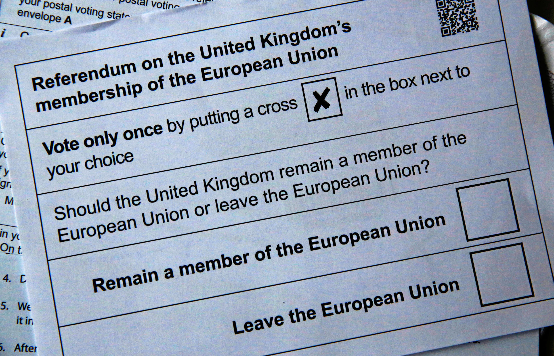 Ảnh mẫu lá phiếu bầu được sử dụng cho ngày trưng cầu dân ý 23/06/2016.