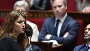 French Junior Minister for Gender Equality Marlene Schiappa speaks during a session of questions to the government at the French National Assembly, in Paris, on May 15, 2018.