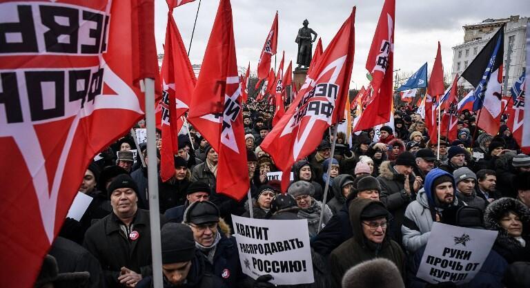 Từ 300 đến 500 người tập hợp dưới chân bức tượng tướng Souvorov, Matxcơva, Nga, ngày 20/01/2019, để phản đối mọi ý định trả quần đảo Kuril cho Nhật Bản