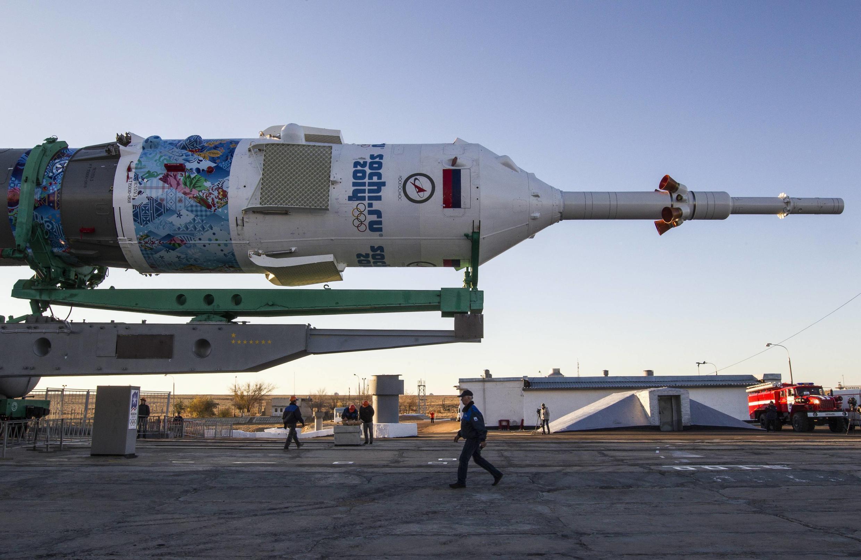 Nave Soyuz, vai levar até a Estação Espacial Internacional a tocha olímpica.
