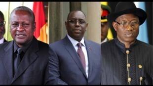 Shugaban Ghana John Dramani Mahama na Ghana da Macky Sall na Sénégal da Shugaban Najeriya Goodluck Jonathan